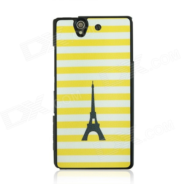 Stripes & Tower Pattern Case for Sony Xperia Z / L36H - Yellow + White