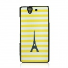 Stripes & Tower Pattern Protective PC Back Case Cover for Sony Xperia Z / L36H - Yellow + White