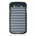 Stripes Pattern Protective PC Back Case for Samsung Galaxy Grand i9082 - White + Deep Blue + Black