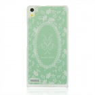 Wreath Pattern PC Back Case for Huawei P6 - Light Green + White