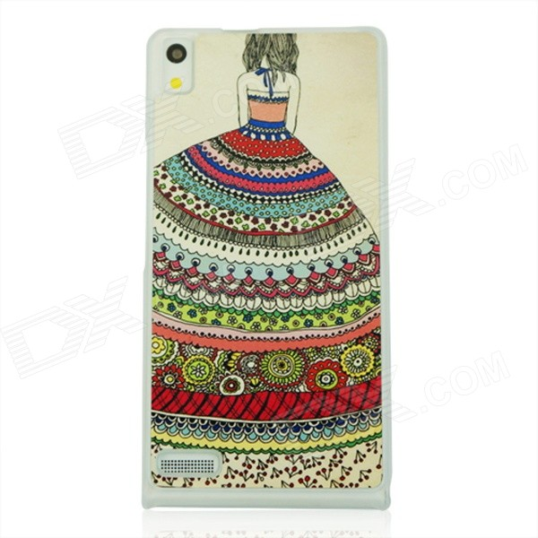 Girl's Back Pattern PC Case for Huawei P6 - White + Red + Multicolored