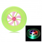 Plastic Rotary Flying Disk w/ 3-LED RGB Light - Light Florescent Green + Deep Pink (2 x RL41)