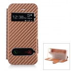 Protective Flip Open PU Leather + TPU Case w/ Dual Display Window for IPHONE 4 / 4S - Coffee