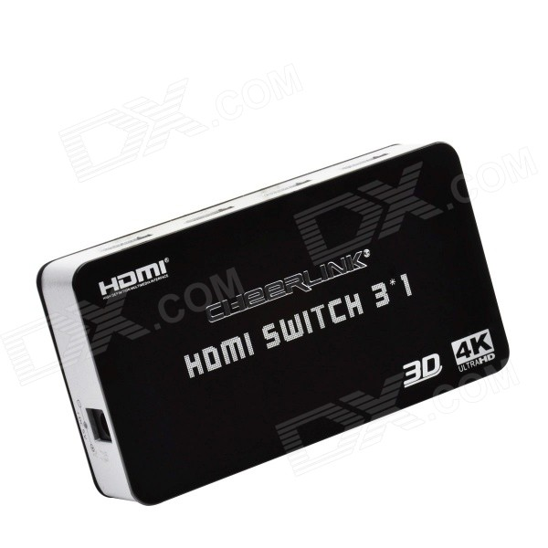 CHEERLINK Ultra HD 4K*2K 3D HDMI Switch w/ Remote Control - Black (EU)