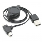 CYU2-307-BK 2-In-1 Retractable USB 2.0 to Micro + Mini USB Charge Cable for Tablet + More - Black