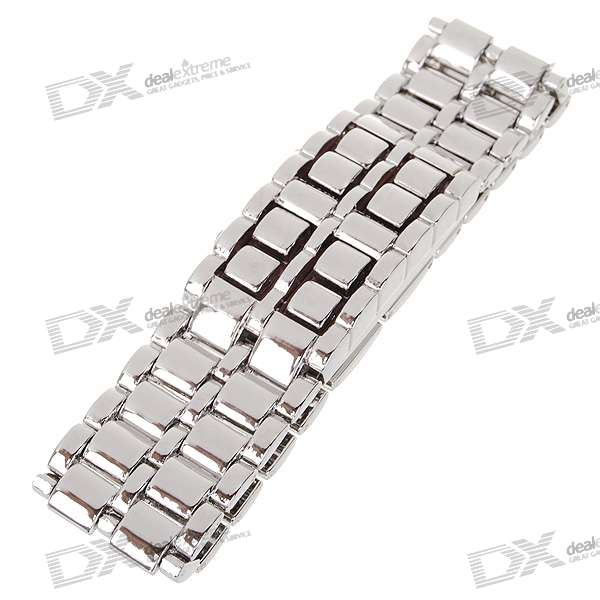 Stylish 8-LED Red Light Digit Stainless Steel Bracelet Wrist Watch