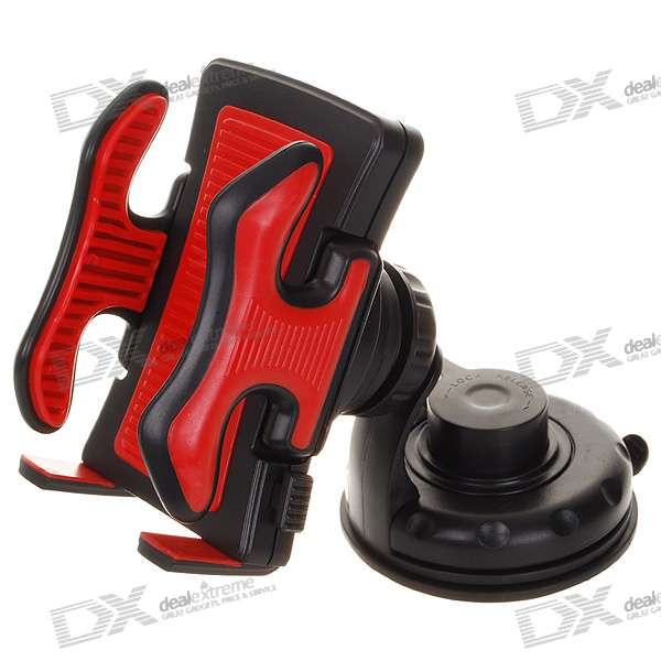 Universal Car Mount Holder for PDA Cell Phones/MP3/MP4/GPS - Black + Red (4.8~10.5cm) windshield universal swivel rotation car mount holder for cell phone gps psp iphone black