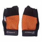 POVIT Half-Finger Sports Gloves for Men & Women - Orange + Black (Free Size / Pair)