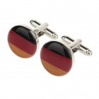 YH-1470 German Flag Style Men's High-grade French Shirt Cuff Links - Black + Red (2 PCS)