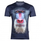 XINGLONG Men's 3D Printing Animal Baboon Motifs T-shirt - Blue-black + Multi-Color (Size XXL)
