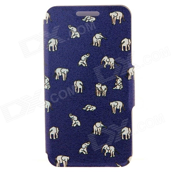 Kinston Indian Elephants Pattern PU Case for IPHONE 6 PLUS - Dark Blue