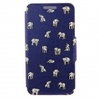 Kinston Indian Elephants Pattern PU Leather Full Body Case w/ Stand for IPHONE 6 PLUS - Dark Blue