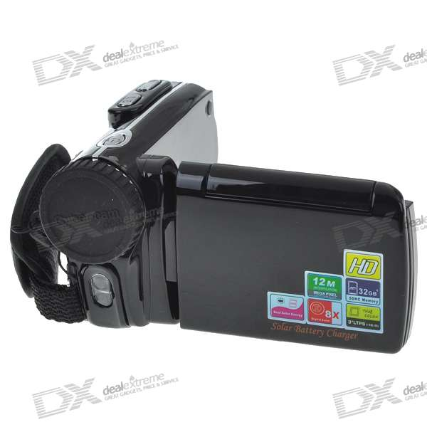 "Dual Solar Rechargeable 3.0"" TFT LCD ""12.0MP"" 8X Digital Zoom Camcorder with SD Slot"