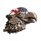 3D Eagle Pattern Zinc Alloy Decoration Conversion Standard Car Body Sticker Decal - Coppery