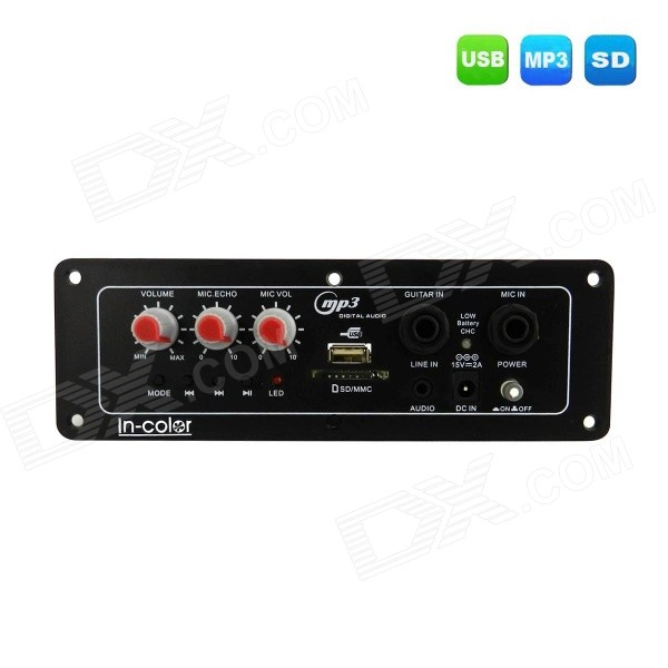 En color 9V MP3 decodificador placa amplificador FM módulo de audio inalámbrico