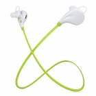 Sports Bluetooth V4.1 In-Ear Stereo Earphone w/ Microphone - White + Fluorescent Green
