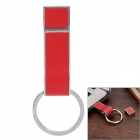 Whistle Estilo da liga de alumínio + PU USB 2.0 Flash Drive Disk w / Key Ring - Red + Silver (32GB)