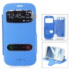 Protective Flip-Open PU + TPU Case Cover w/ View Windows for Samsung i9300 / i9308 / i939D - Blue