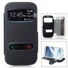 Protective Flip-Open PU + TPU Case Cover w/ View Windows for Samsung i9300 / i9308 / i939D - Black