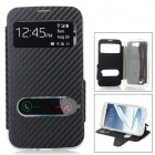 Protective Flip-Open PU + TPU Case Cover w/ View Windows for Samsung Note 2 N7100 / N7108 - Black