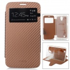 Protective PU + TPU Flip-Open Case w/ Front Window for Samsung i9200 / i9208 - Brown
