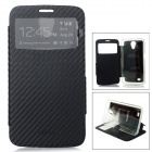 Protective PU + TPU Flip-Open Case w/ Front Window for Samsung i9200 / i9208 - Black