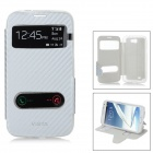 Protective Flip-Open PU + TPU Case w/ View Windows for Samsung Note 2 N7100 / N7108 - Silver Grey