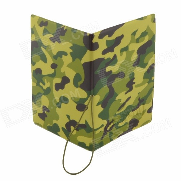 Stylish PU Passport Cover Bag - Camouflage Green