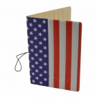 US Flag Pattern PU Passport Cover Holder Case w/ Card Slot - White + Red + Multicolored