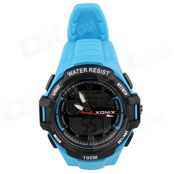XONIX MK Men's Waterproof Display & Analog Sports Watch - Blue
