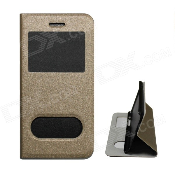 Protective PU Leather Flip Open Case w/ Display Window + Holder for IPHONE 6 - Champagne Gold