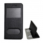 MSC-I6-2 Protective PU Leather Flip Open Case w/ Display Window + Holder for IPHONE 6 - Black