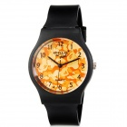 Willis Retro Style Resin Band Analog Quartz Wrist Watch - Black + Orange (1 x 626)