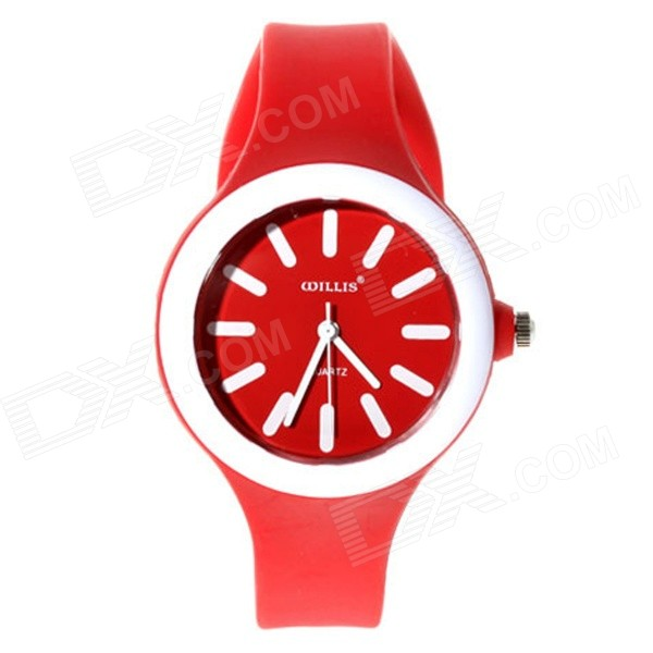 Willis 5477 Women's Silicone Band Analog Quartz Watch - Red