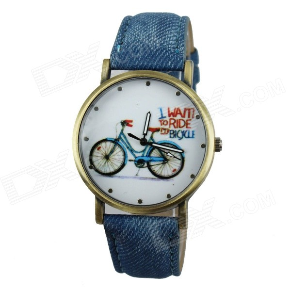 Women's Bike Patterned PU Band Analog Quartz Watch - Blue
