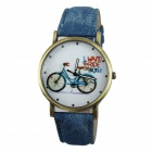 Frauen-Bike-Art PU-Band-analoge Quarz-Armbanduhr - blau (1 x 377)