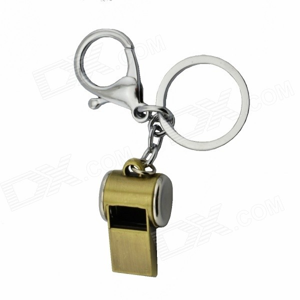 Zinc Alloy Whistle Key Ring - Golden + Silver
