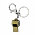 Zinc Alloy Whistle Key Ring - Gold + Silver