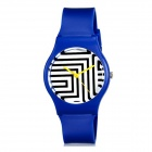 Women's Fashionable Zebra Skin Pattern Analog Wrist Watch - Blue + Black