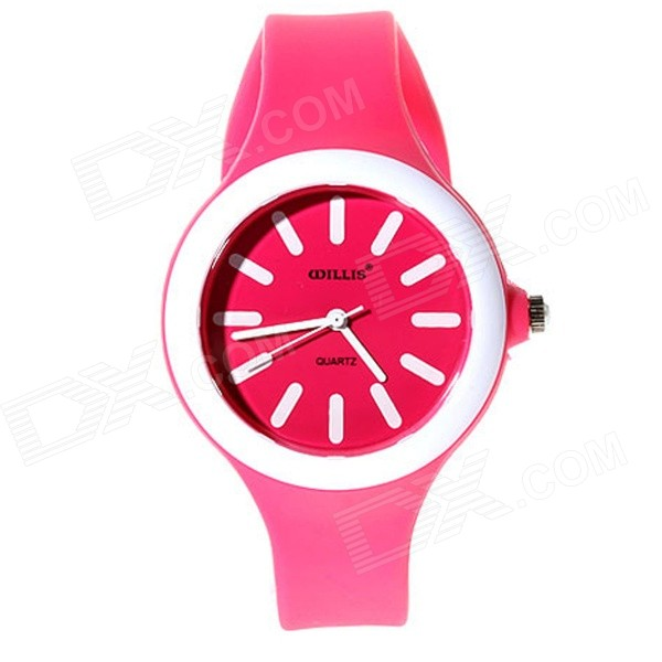 Willis 5477 Women's Silicone Band Analog Quartz Watch - Deep Pink
