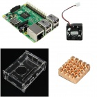 4-in-1 Raspberry Pi 2 Model B & Acrylic Shell & Fan & Heat Sink Set - Green + Transparent
