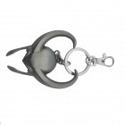 Bull Head Style Zinc Alloy Key Ring - White Silver