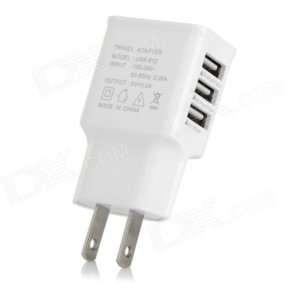 Universal 3-Port USB 5V 3A AC Charger w/ US Plugss - White (100~240V)