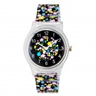 Willis Floral Print Quartz Analog Wrist Watch - Black + Multi-Colored