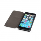 Durable Flip-Open PU Leather Case w/ Stand for IPHONE 6 PLUS - Black