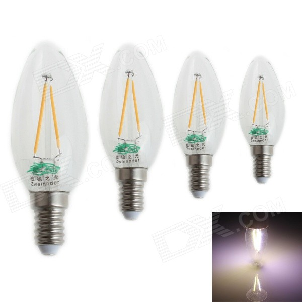 Zweihnder E14 2W LED Filament Candle pærer Cold Hvit (4PCS)