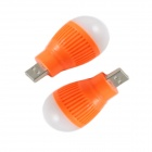 USB 1W 5V LED Mini globo bulbo blanco luz 80lm - naranja + blanco (2 piezas)