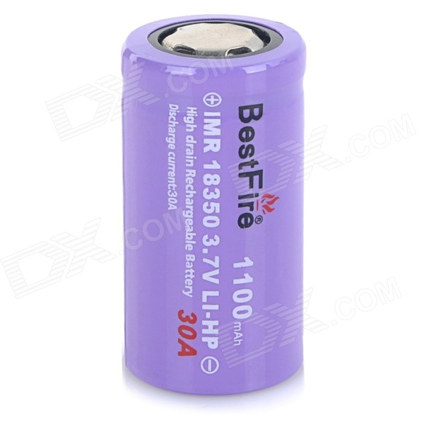 "BestFire Rechargeable ""1100mAh"" 3.7V 18350 Li-ion Battery - Purple"
