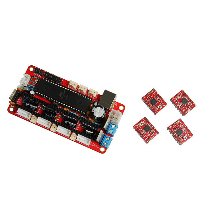 Geeetech 3D Printer RepRap Assembled Sanguinololu Board Kit - Red3D Printer Parts<br>Form  ColorRedModelDPK-06635Quantity1 DX.PCM.Model.AttributeModel.UnitMaterialPCBEnglish Manual / SpecYesDownload Link   http://www.geeetech.com/wiki/index.php/SanguinololuPacking List1 x Sanguinololu board4 x A4988 stepper drivers<br>