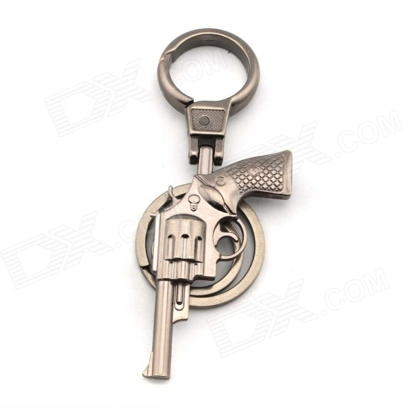 Large Creative Gun Shaped Double Circles Key Ring - Iron Grey